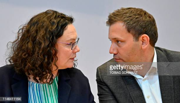 Andrea Nahles leader of Germany's social democratic SPD party talks with SPD secretary general Lars Klingbeil prior to their party's leadership...