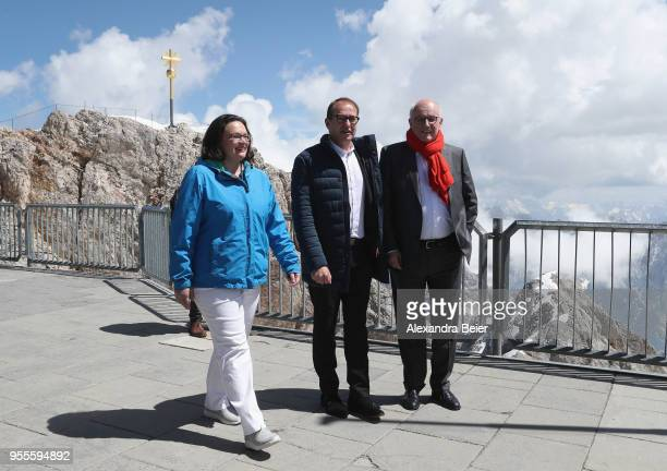 Andrea Nahles leader of the German Social Democrats and of the SPD Bundestag faction Volker Kauder leader of the Bundestag faction of the German...