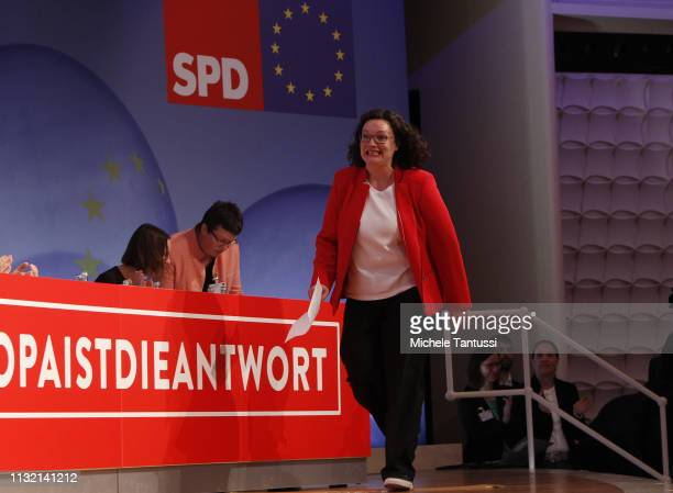 Andrea Nahles leader of the German Social Democrats arrives to speak at a SPD party congress on March 23 2019 in Berlin Germany SPD members from...