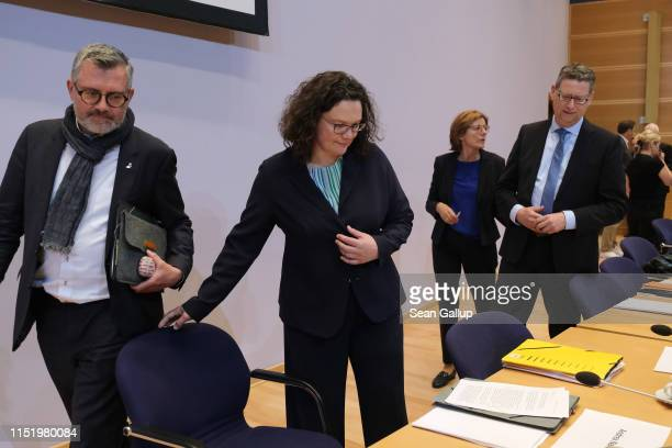 Andrea Nahles , leader of the German Social Democrats , arrives with colleagues for a meeting of the SPD governing board the day after European...