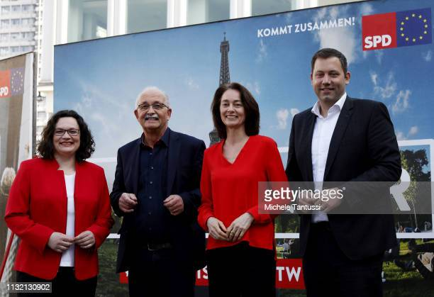 Andrea Nahles leader of the German Social Democrats Eu Candidate Udo Bullmann Justice Minister and candidate for the EU Elections Katarina Barley and...