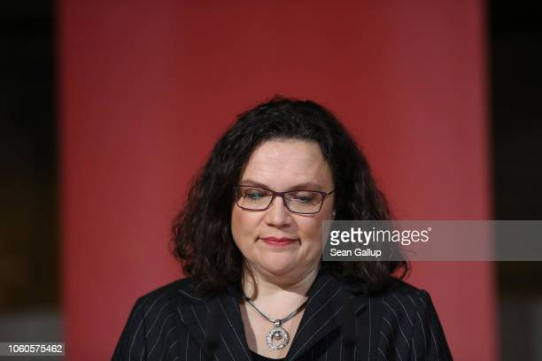 Andrea Nahles leader of the German Social Democrats gives a statement to the media following initial election results that give the SPD a...