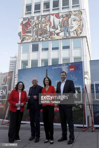 Andrea Nahles leader of the German Social Democrats Justice Minister and candidate for the EU Elections Katarina Barley Eu Candidate Udo Bullmann and...