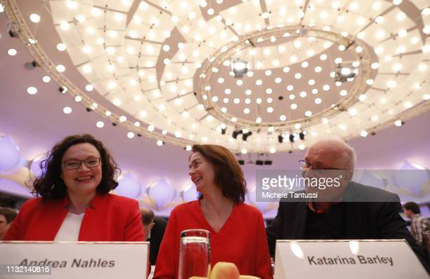 Andrea Nahles leader of the German Social Democrats Justice Minister and candidate for the EU Elections Katarina Barley Eu Candidate Udo Bullmann...