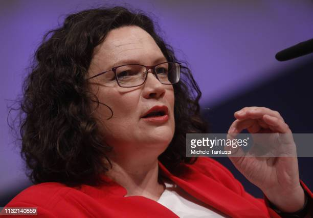Andrea Nahles leader of the German Social Democrats speaks at a SPD party congress on March 23 2019 in Berlin Germany SPD members from across Germany...