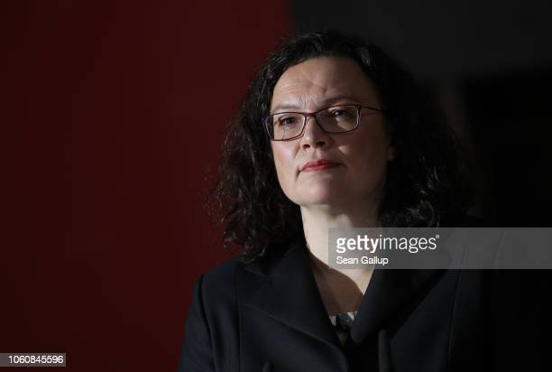 Andrea Nahles leader of the German Social Democrats speaks to the media the day after Hesse state elections that gave the SPD a disappointing 198% of...