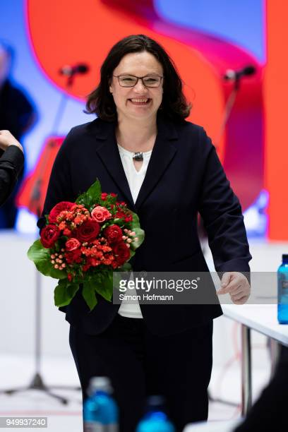 Andrea Nahles smiles at a federal party congress of the German Social Democrats following her election as new party leader on April 22 2018 in...