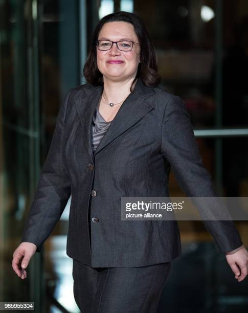 Andrea Nahles SPD faction leader in the Bundestag arrives to the foyer of the SPD headquarters for a press statement in Berlin Germany 13 February...