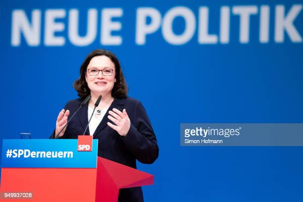 Andrea Nahles speaks to delegates at a federal party congress of the German Social Democrats following her election as new party leader on April 22...