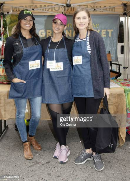 Andrea Navedo Dascha Polanco and Lauren Bush Lauren participate in the 'Feeding America's Celebrity Friends Join City Harvest At GrowNYC's Union...