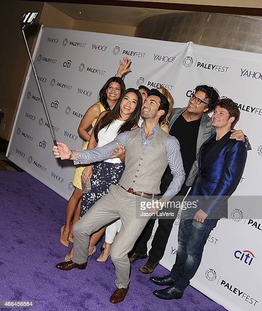 Andrea Navedo Gina Rodriguez Justin Baldoni Jaime Camil and Brett Dier take a selfie at the Jane The Virgin event at the 32nd annual PaleyFest at...