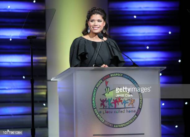 Andrea Navedo speaks at A Place Called Home's 18th Annual Gala For The Children at The Beverly Hilton Hotel on December 05 2018 in Beverly Hills...
