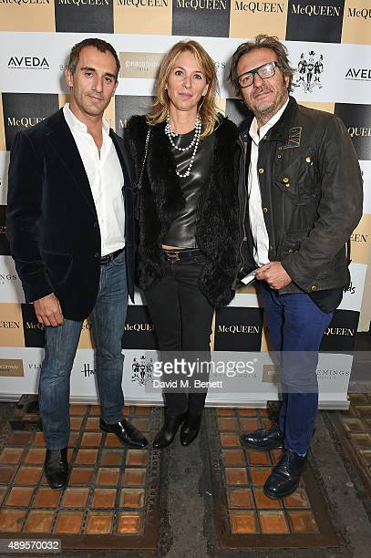Andrea Negri Deborah Negri and Charlie Rapino attend the exclusive viewing of 'McQueen' hosted by Karim Al Fayed for Lonely Rock Investments during...