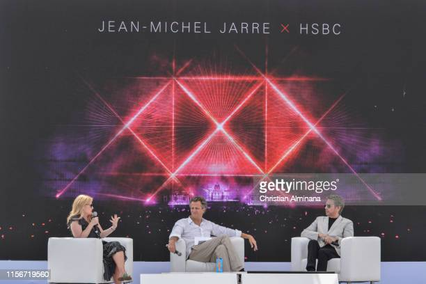 Andrea Newman Arthur Sadoun and Music Composer and Producer JeanMichel Jarre attends the Cannes Lions 2019 Day Two on June 18 2019 in Cannes France