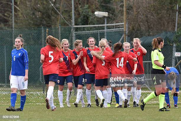 Andrea Norheim of Norway celebrates after scoring the opening goal during the Women's U17 international friendly match between Italy and Norway on...