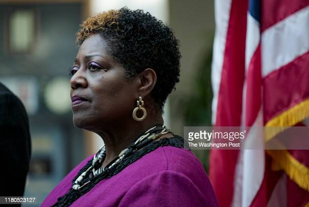 Andrea O. Bailey, newly elected member of the Prince Williams County Board of Supervisors, listens during a press conference in Woodbridge, VA on...