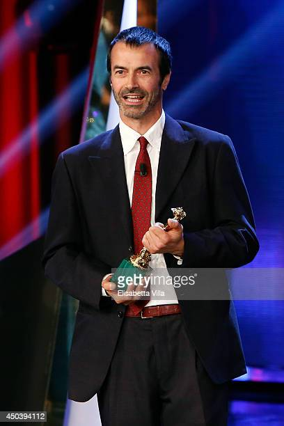 Andrea Occhipinti receives the best European Union film award for 'Philomena' as he attends the David Di Donatello Awards Ceremony at the Dear...