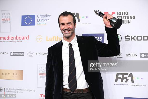 Andrea Occhipinti with award during the European Film Awards 2015 at Haus Der Berliner Festspiele on December 12 2015 in Berlin Germany