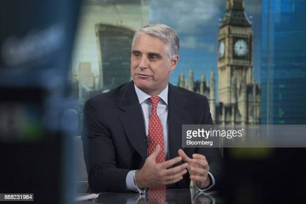 Andrea Orcel investment bank president of UBS Group AG gestures as he speaks during a Bloomberg Television interview in London UK on Friday Dec 8...