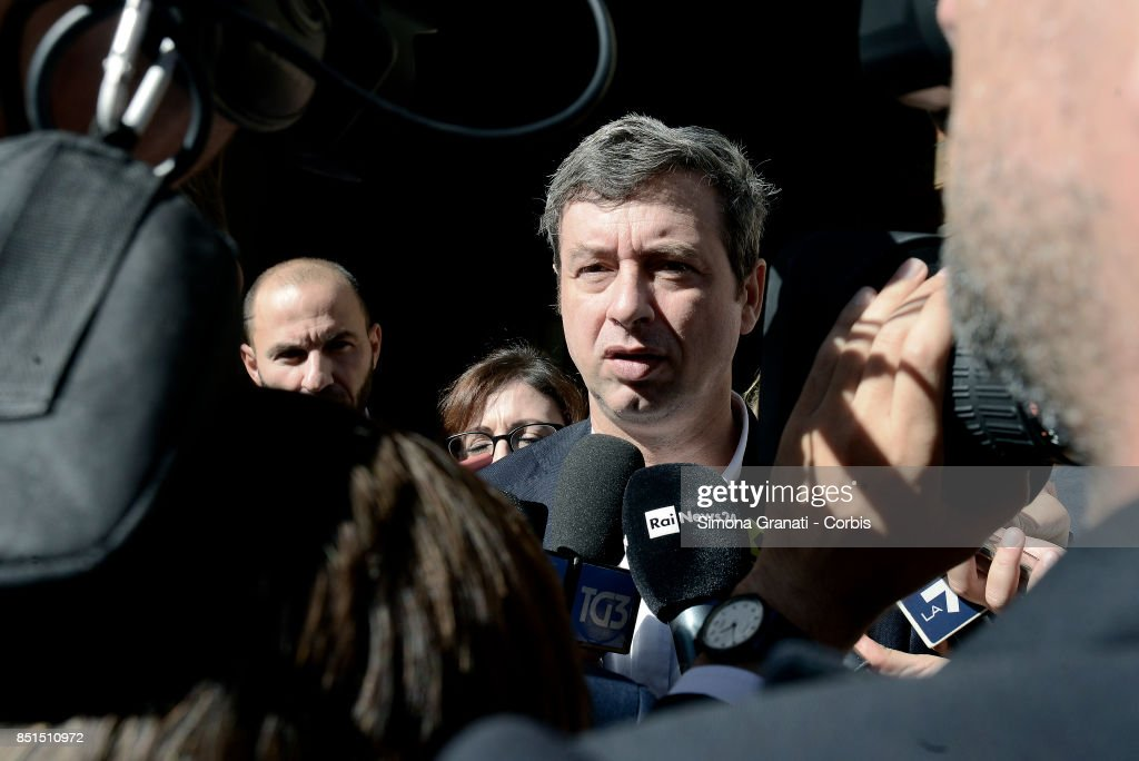 Andrea Orlando minister of Justice, leaves the headquarters of Art 1 Movimento Democratico e Progressista (Art 1 Democratic and Progressive Movement), in Via Zanardelli at the end of his meeting with Roberto Speranza,on September 22, 2017 in Rome, Italy.