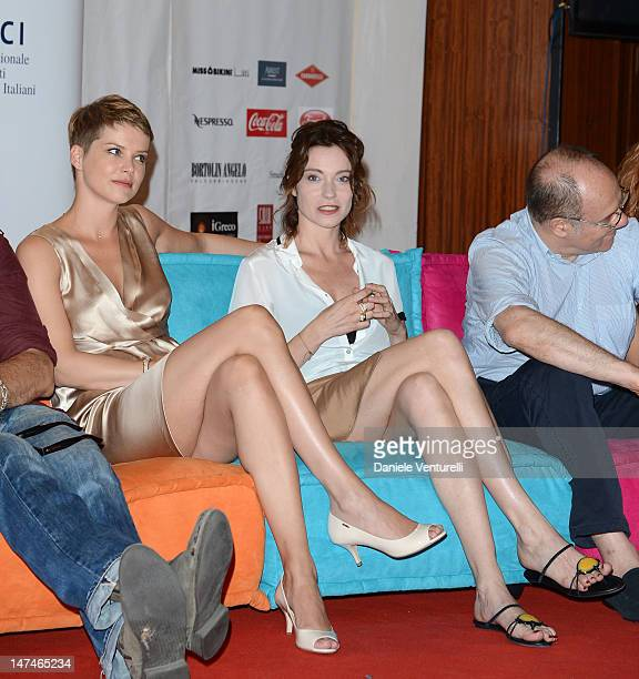 Andrea Osvart and Stefania Rocca attends the 2012 Nastri d'Argento Press Conference on June 30 2012 in Taormina Italy