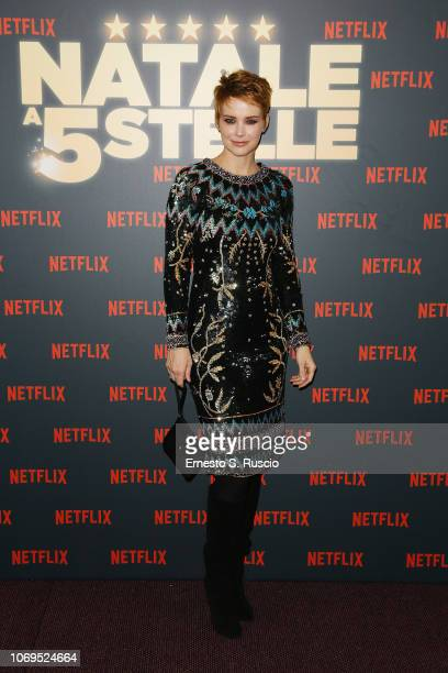 Andrea Osvart attends the World Premiere of the Netflix Original Movie Natale A 5 Stelle at The Space Moderno on December 4 2018 in Rome Italy