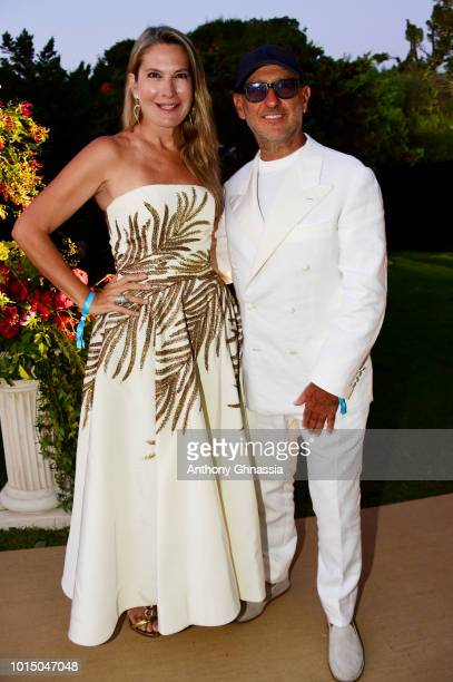 Andrea Panconesi and guest attend the Unicef Summer Gala Presented by Luisaviaroma cocktail party at Villa Violina on August 10 2018 in Porto Cervo...