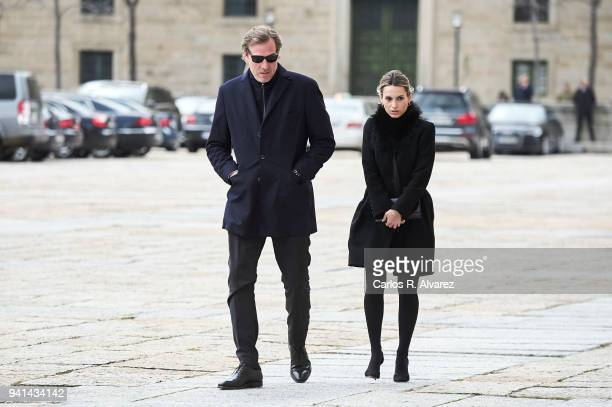 Andrea Pascual and Beltran Gomez Acebo attend a Mass in occasion of the 25th anniversary of death of Conde de Barcelona father of King Juan Carlos at...