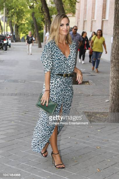 Andrea Pascual attends the wedding of MarIa VegaPenichet and Fernando Ramos de Lucas at Espiritu Santo church on October 6 2018 in Madrid Spain