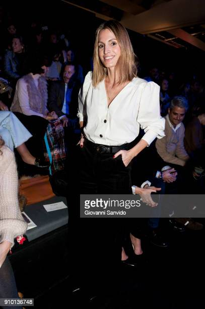 Andrea Pascual is seen at the Alvarno show during the MercedesBenz Fashion Week Madrid Autumn/Winter 201819 at Ifema on January 25 2018 in Madrid...