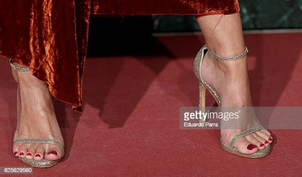 Andrea Pascual shoes detail attends the 'Vogue Joyas awards' photocall at Duques de Santona palace on November 24 2016 in Madrid Spain