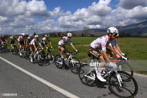 Andrea Pasqualon of Italy and Team Intermarché - Wanty - Gobert Matériaux, Andrea Vendrame of Italy, Geoffrey Bouchard of France, Nans Peters of...