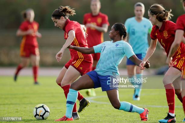 Andrea Pereira Cejudo of Spain Women Lineth Beerensteyn of Holland Women during the Algarve Cup Women match between Spain v Holland at the Estadio...