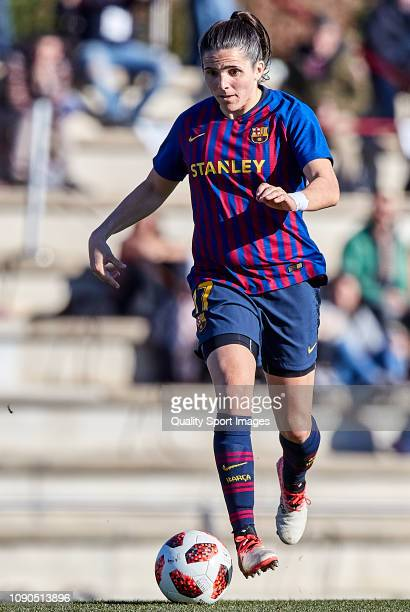 Andrea Pereira of FC Barcelona controls the ball during the Iberdrola Women's First Division match between FC Barcelona and RCD Espanyol at the...
