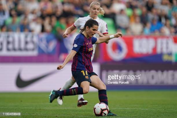 Andrea Pereira of FC Barcelona shoots the ball during the UEFA Women's Champions League Final between Olympique Lyonnais and FC Barcelona Women at...