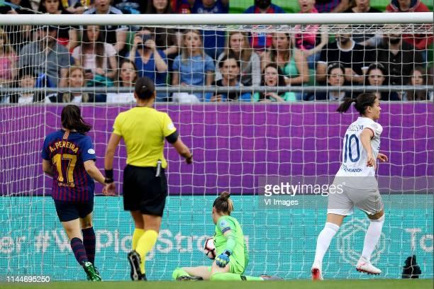 Andrea Pereira of FC Barcelona women goalkeeper Sandra Panos Garcia Villamil of FC Barcelona women Dzsenifer Marozsan of Olympique Lyonnais women 10...