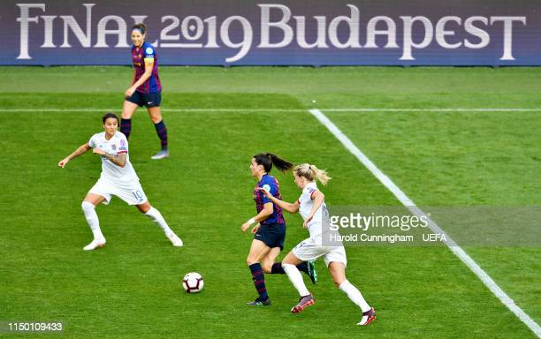 Andrea Pereira of FC Barcelona Women is challenged by Ada Hegerberg of Olympique Lyonnais Women during the UEFA Women's Champions League Final...