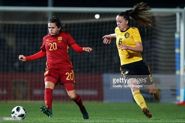 Andrea Pereira of Spain Women competes for the ball with Tine de Caigny of Belgium Women during the International Friendly match between Spain Women...