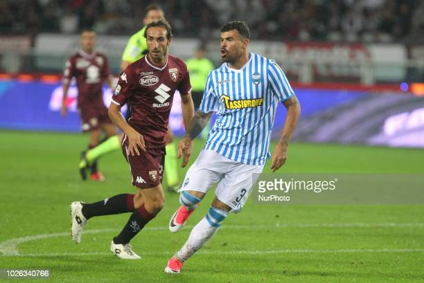Andrea Petagna during the Serie A football match between Torino FC and SPAL at Olympic Grande Torino Stadium on September 02 2018 in Turin Italy...