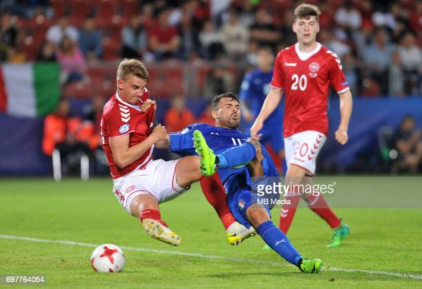 Andrea Petagna gol during the UEFA European Under21 match between Denmark and Italy at Cracovia stadium on June 18 2017 in Krakow Poland