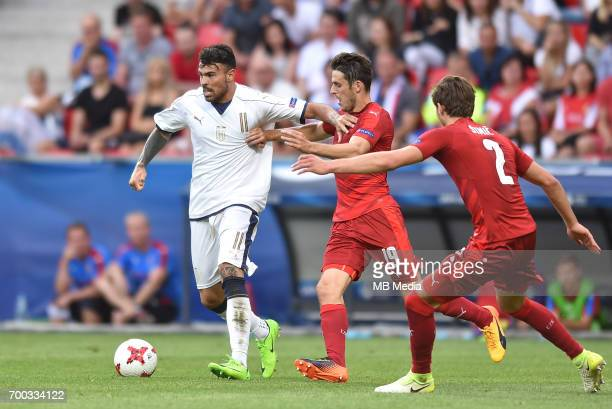 Andrea Petagna Milan Havel Stefan Simic during the UEFA European Under21 match between Czech Republic and Italy on June 21 2017 in Tychy Poland