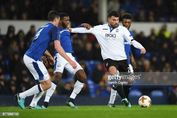 Andrea Petagna of Atalanta and Cuco Martina of Everton battle for possession during the UEFA Europa League group E match between Everton FC and...