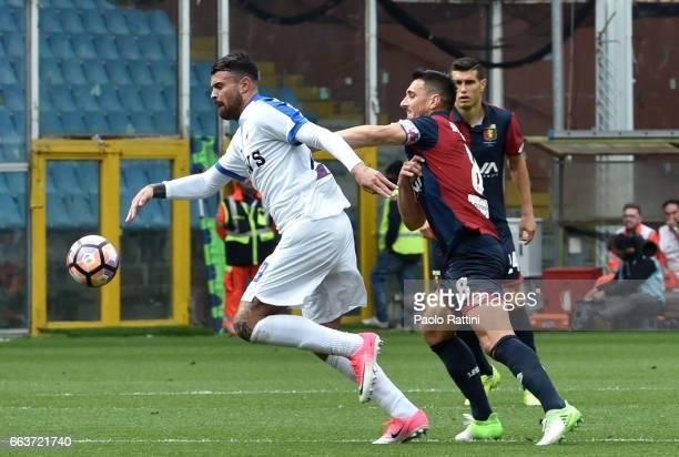 Andrea Petagna of Atalanta and Nicolas Burdisso of Genoa during the Serie A match between Genoa CFC and Atalanta BC at Stadio Luigi Ferraris on April...