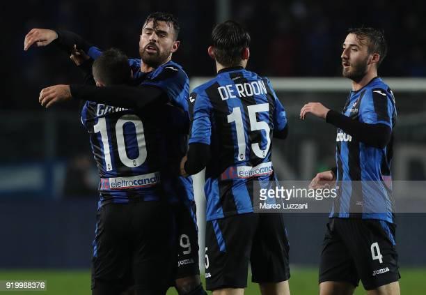 Andrea Petagna of Atalanta BC celebrates his goal with his teammate Alejandro Dario Gomez during the serie A match between Atalanta BC and ACF...