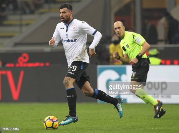 Andrea Petagna of Atalanta BC in action during the serie A match between AC Milan and Atalanta BC at Stadio Giuseppe Meazza on December 23 2017 in...