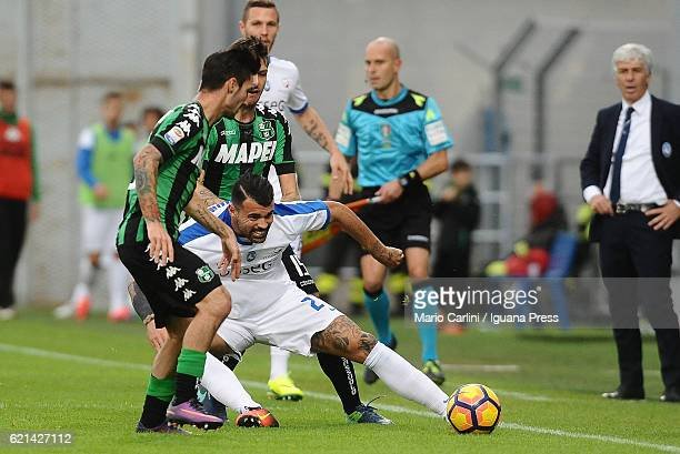 Andrea Petagna of Atalanta BC in action during the Serie A match between US Sassuolo and Atalanta BC at Mapei Stadium Citta' del Tricolore on...