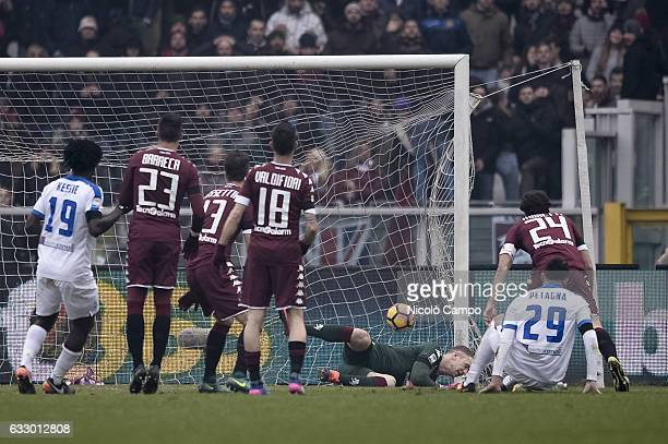 Andrea Petagna of Atalanta BC scores a goal during the Serie A football match between Torino FC and Atalanta BC Final result of the match is 11