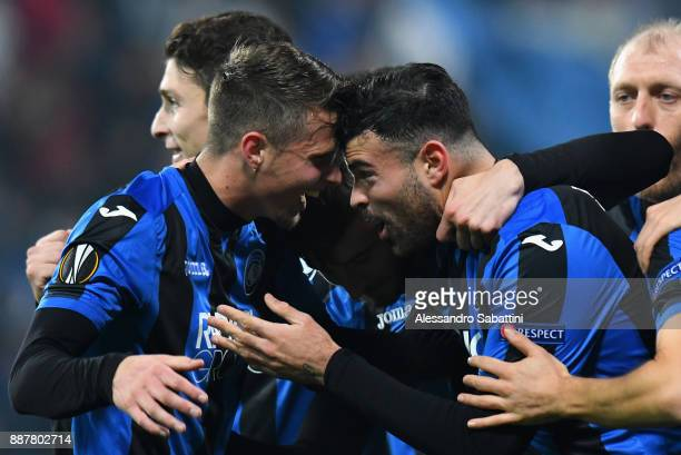 Andrea Petagna of Atalanta celebrates after scoring the opening goal with teammates during the UEFA Europa League group E match between Atalanta and...
