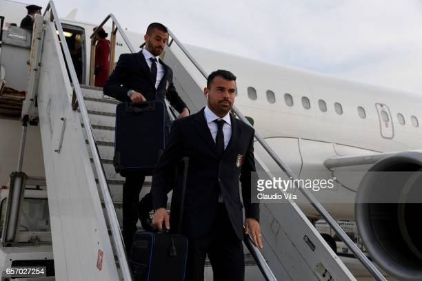 Andrea Petagna of Italy arrives to Palermo on March 23 2017 in Palermo Italy