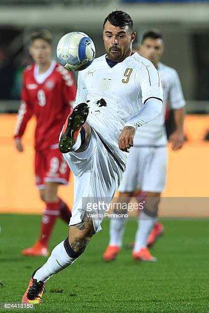 Andrea Petagna of Italy in action during the International Friendly match between Italy U21 and Denmark U21 at Stadio Atleti Azzurri d'Italia on...